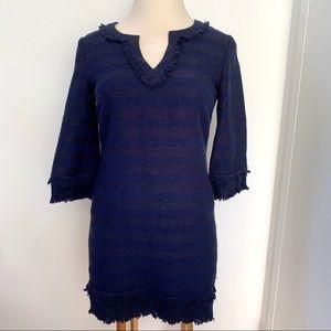 TRINA TURK Lorossa Tonal Striped Tweed Dress